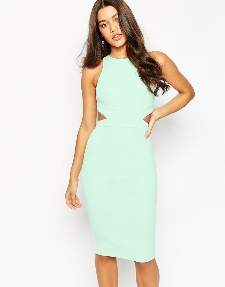 Image 1 of ASOS Cut Out Back Body-Conscious Midi Dress