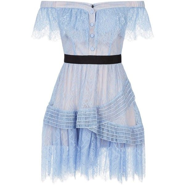 The Shoulder Blue Lace Mini Dress (610 PEN) ❤ liked on Polyvore featuring dresses, blue dresses, off-shoulder dresses, short lace dress, off the shoulder fit and flare dress and blue fit-and-flare dresses