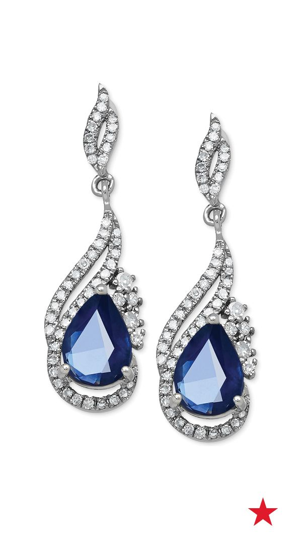 Take on your next formal evening out with these gorgeous sapphire drop earrings. If the deep blue stones weren't enough, you'll totally love the sparkling rows of diamonds!
