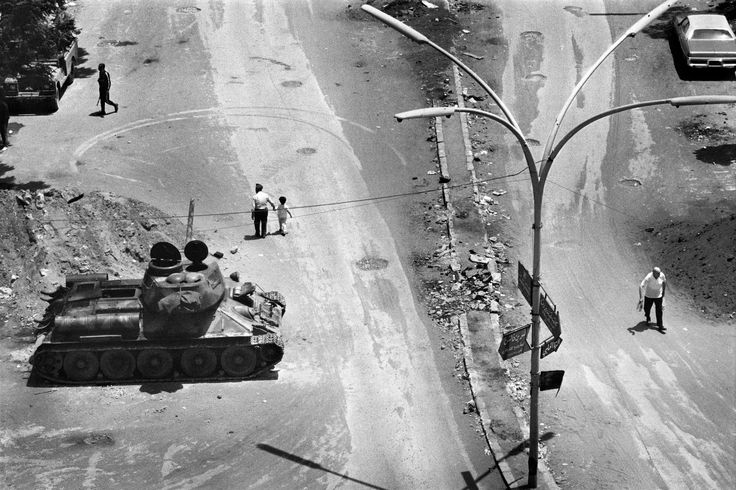 "Fouad #Elkoury - ""From the Civil war series / Barbir's east-west crossing"", Beirut, 1982 © Fouad Elkoury #100anni #fotografia"