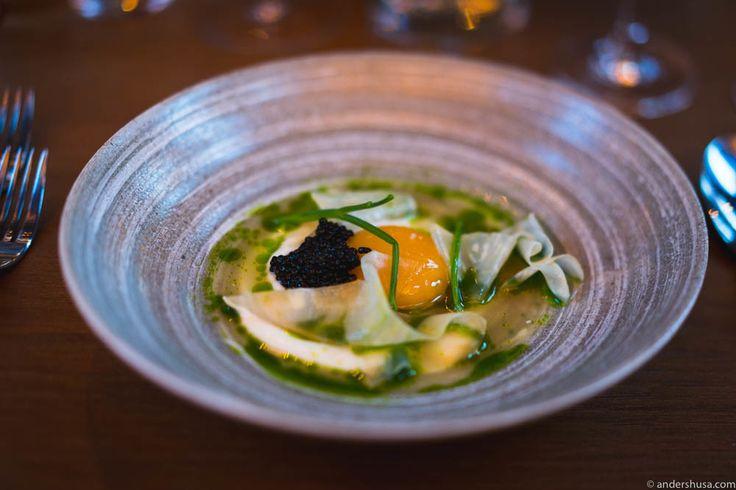 Celeriac cream, confit egg yolk from Holte Gård, Finnish sturgeon caviar, and a juice of celeriac, apple and parsley