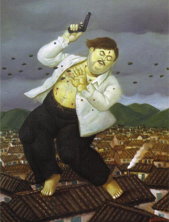 La muerte de Pablo Escobar, 1999, Fernando Botero.