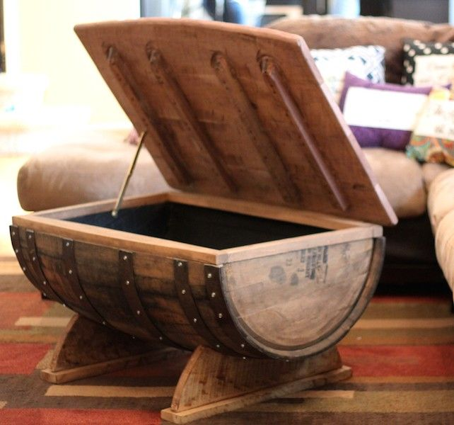 Upcycled whiskey barrel coffee table with storage. #Hipcycle