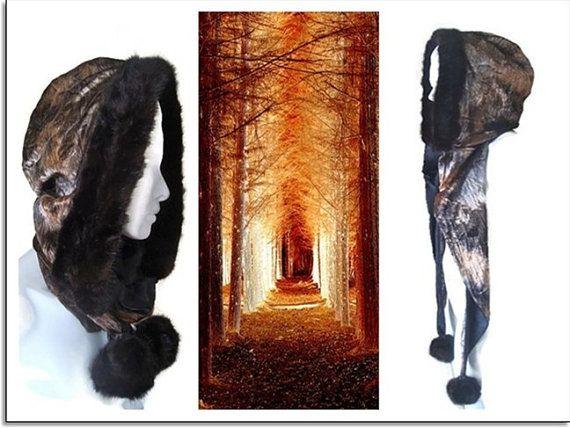 Woodland Otter Fur pom pom Pixie Hood by BlackRainCouture on Etsy