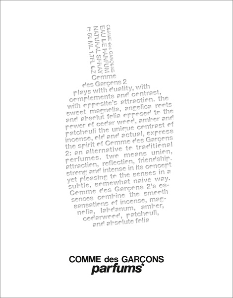 Poster Direct mail proposal Comme des Garçons 2 'Spray the word' campaign Design consulting © puig.com and comme-des-garcons-parfum.com