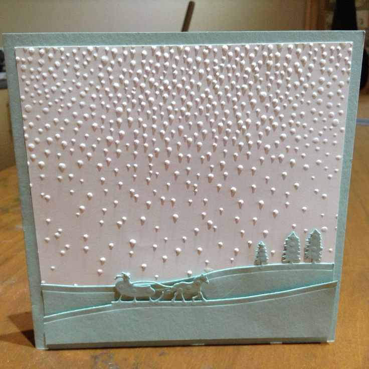Made with Stampin Up Sleigh Ride Edgelits and softly falling embossing folder