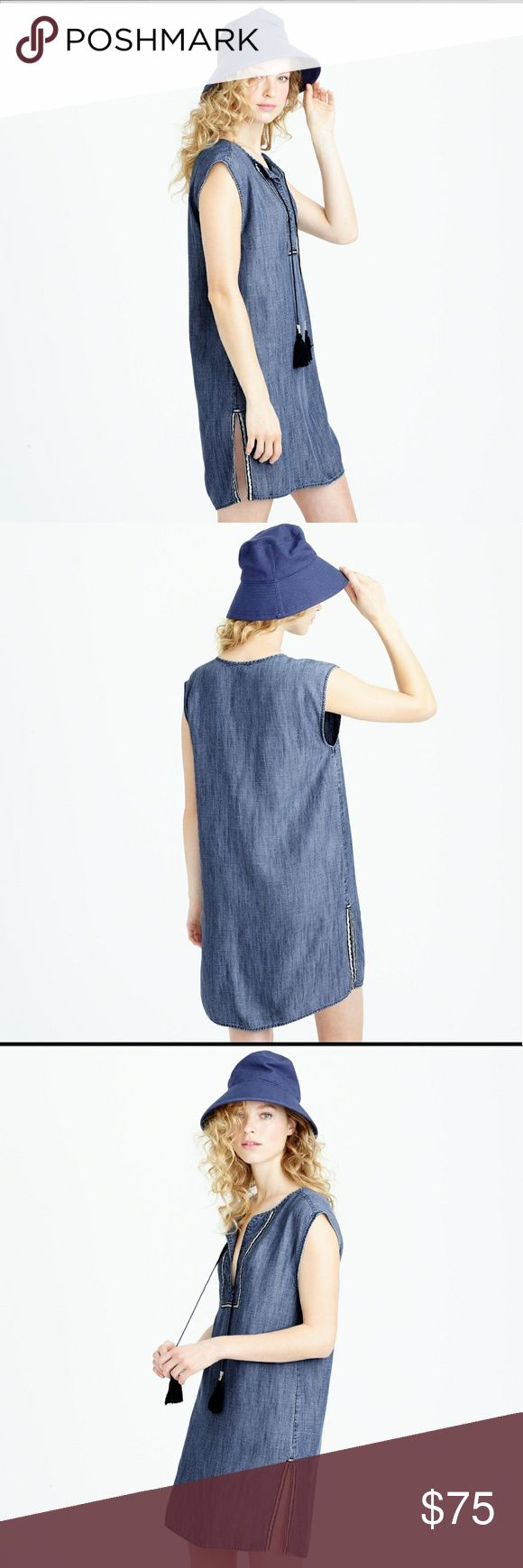 """J. Crew Drapey Chambray Beach Tunic Like new! Perfect condition. Effortless sheath dress with tassel detail, plunging neckline amd metallic-striped trim take this lightweight, drapey chambray beach tunic from pretty to summer staple. Measurements: Length 36"""", Bust 20"""" J. Crew Tops Tunics"""