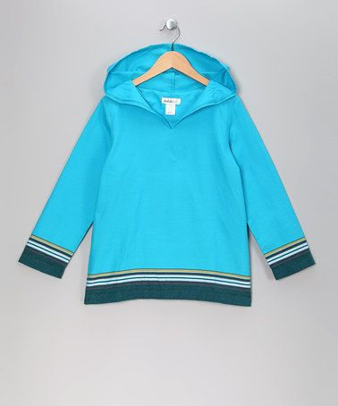 Kalulu Kids. Turquoise Luca Hoodie. Kikoy fabric 100% cotton. Simple cut accentuates colorway and drape of fabric. Great example how boys can pull of vibrant color also!