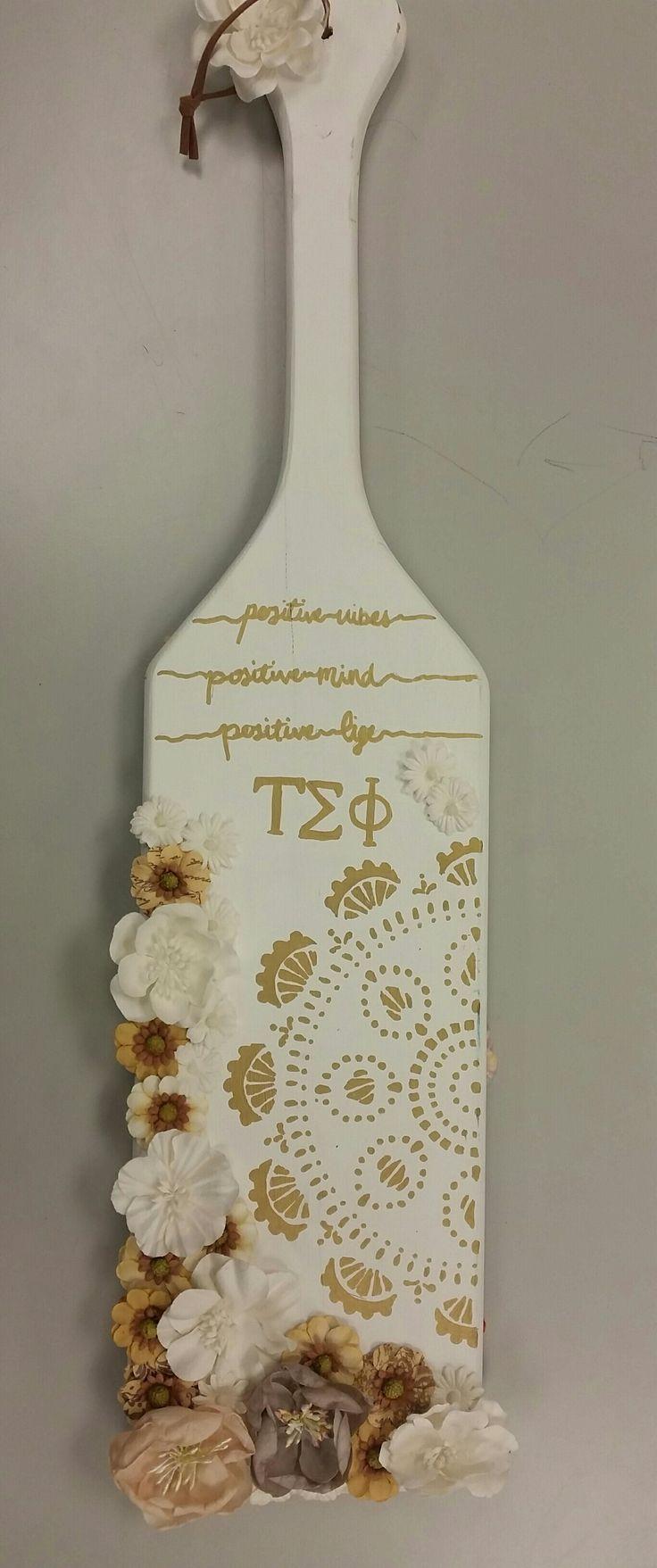 White & Gold boho sorority paddle front