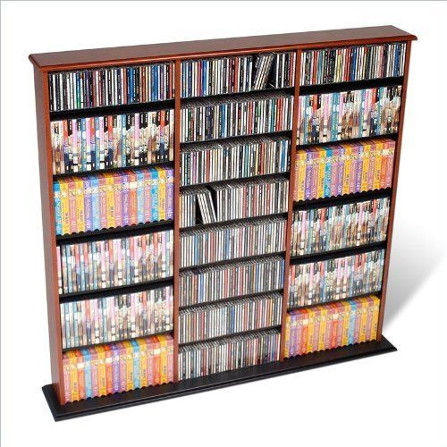 Prepac Triple Width CD DVD Wall Storage Media Tower in Cherry and Black by Prepac. $170.57. This very popular library style media storage unit with three separate compartments is designed to accommodate any combination of media. Fully adjustable shelves and horizontal media storage allow for easy sorting, filing and re-filing of your collection as it grows. Features: Media storage cabinet has Cherry and Black laminate finish Media storage cabinet holds 960 CDs, 405 DVD...