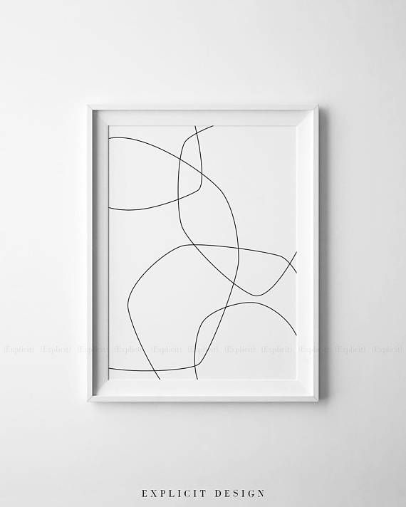 Minimalist Printable Black And White Abstract Wall Art Thin Simple Wall Art Simple Prints Geometric Poster
