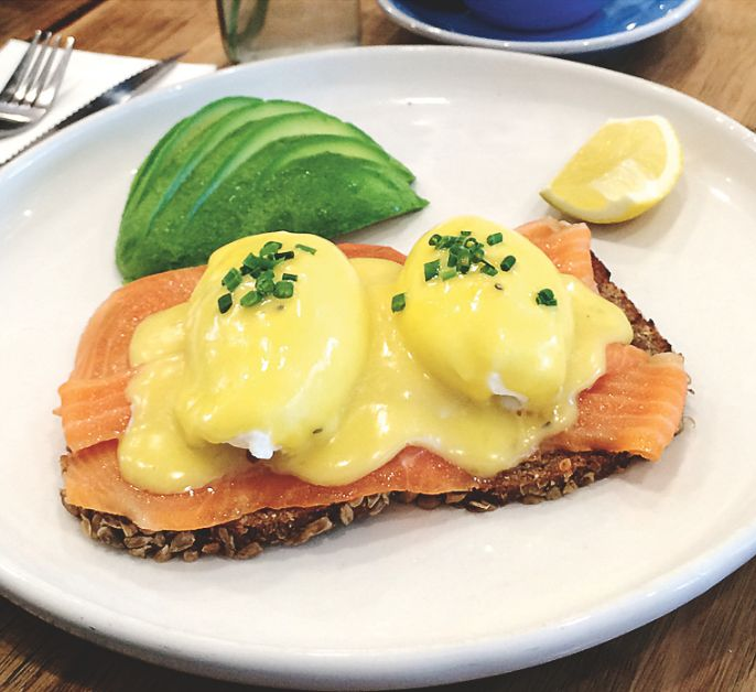 Smoked salmon, poached eggs, hollandaise and avocado on dark rye...no complaints from us at Townhouse, Toorak.  Photo by Chloe Booker.
