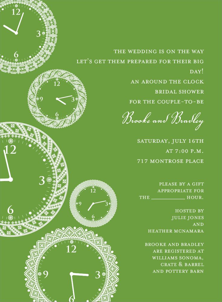 Faces of time olive around the clock invitation for Around the clock bridal shower decoration ideas
