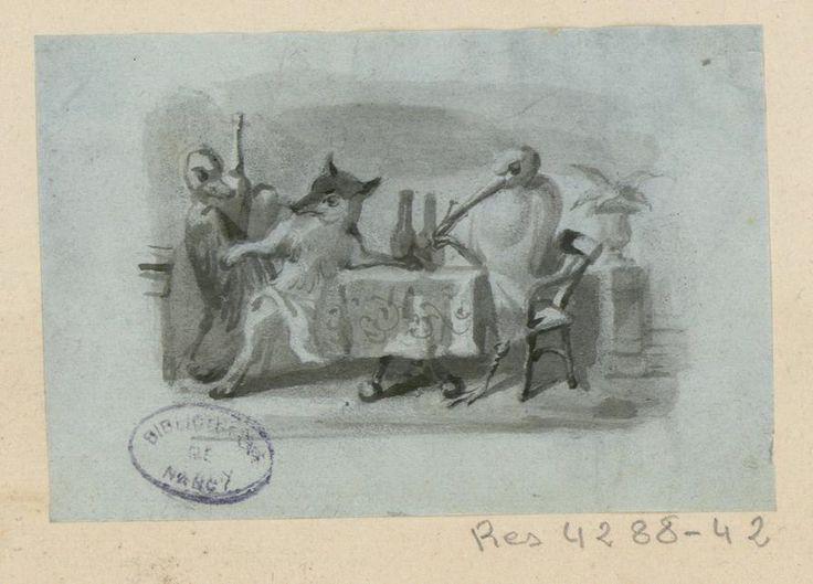 Les 55 meilleures images du tableau grandville fables de - Dessin le renard et la cigogne ...