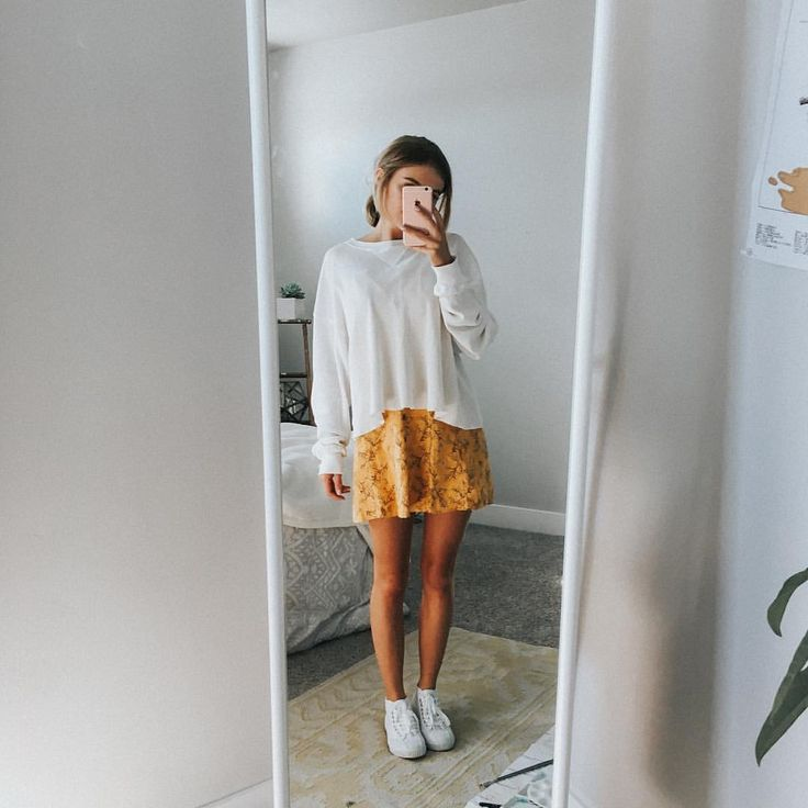 spring / summer outfit   white tennis shoes   white over shirt   yellow skirt / dress   summer style https://tmblr.co/ZSbdbd2N1F8wM