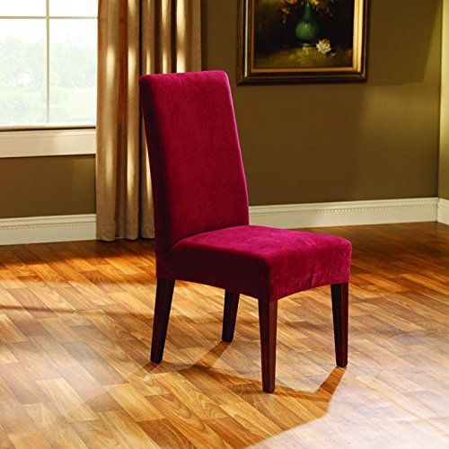 Sure Fit Stretch Pique Shorty Dining Room Chair Slipcover Garnet Surefit