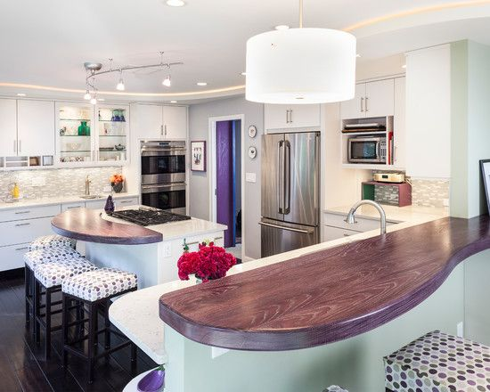 14 Creative Ways to Decorate a Kitchen With Purple | eatwell101.com/ love the wood