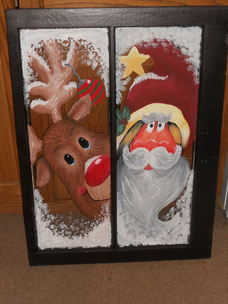 I love to paint Christmas sceens on old windows.  Hang them or add sides on hinges and make a fire place screen.  They make great gifts and they are a huge hit with the kids.