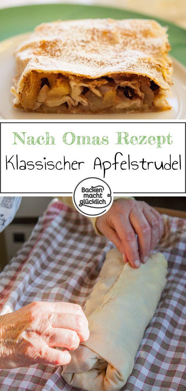 Apple strudel with strudel dough