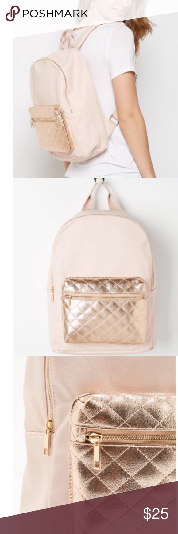 Pink and rose gold backpack Faux leather backpack with rose gold pouch pocket in quilted metallic vinyl. Base approx:5 x 12 in, height approx 14 in, adjustable shoulder straps, zip closure, inside zip compartment. We are a non smoking home. Bags Backpacks