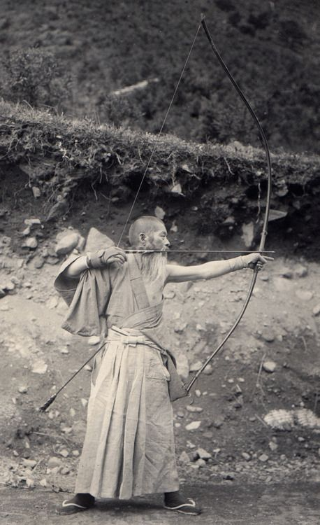 Japanese archer wielding a huge bow. 1914-18, Japan. Image ...