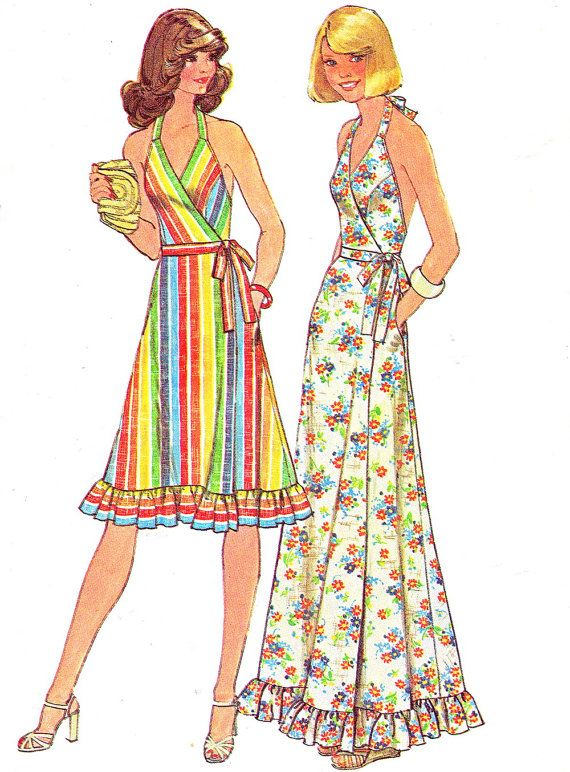 These were hot in 1972- 74 Summers. A Cotton or Satin Wrap Dress with Halter Neck. Pattern Simplicity 7484 Low Back Fit door paneenjerez