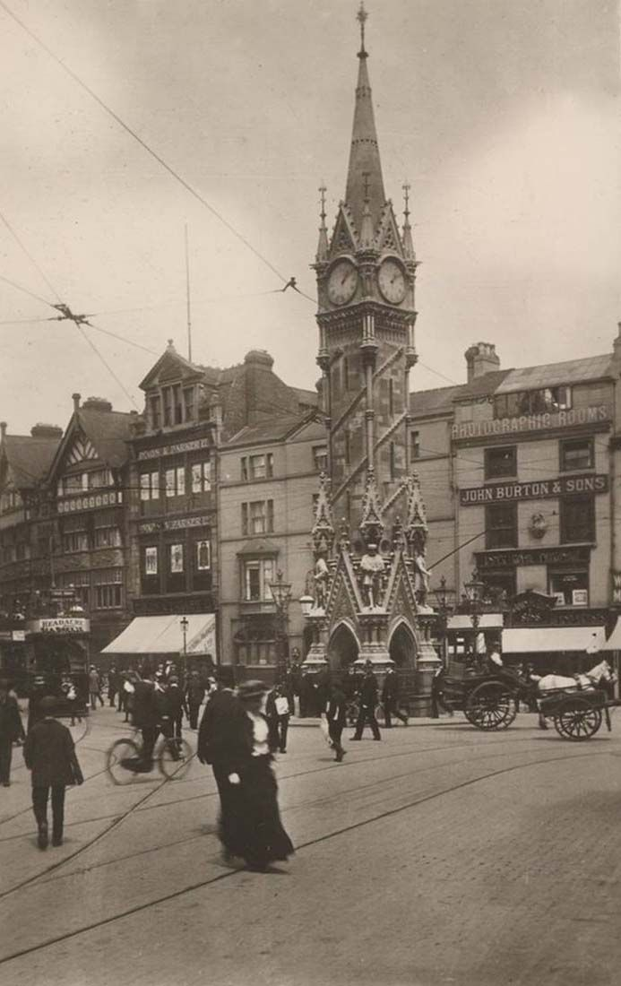 Leicestershire, Leicester, Granby Street, old photo of the Haymarket Memorial Clock Tower and John Burton and sons shop
