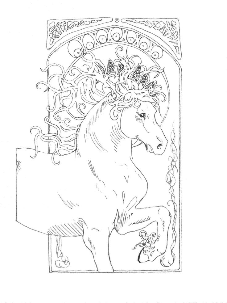 Artists Colouring Book Art Nouveau : 160 best horses in ink images on pinterest