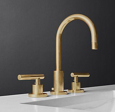 """($795) RH's Sutton Lever-Handle 8"""" Widespread Faucet, Aged Brass"""