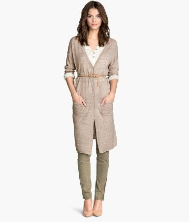 Extra long fine-knit cotton cardigan in beige with front pockets, button front & gently rolled edges.   Warm in H&M
