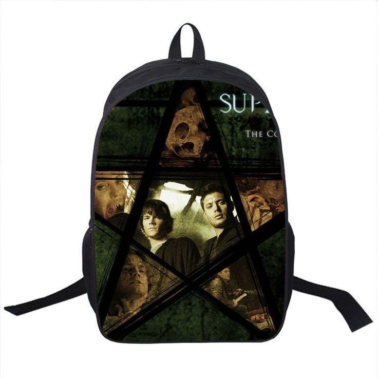 Tv Show Supernatural Backpack Sam Dean Castiel School Bags For Teenagers Men Women Daily Backpack Boys Sport Backpacks Bookbag