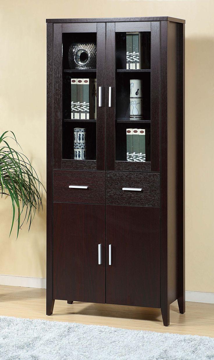 Glass door cabinet - Book Cabinet Features Framed Glass Doors Two Drawers And Two Door Cabinet All In One Pinterest Bou2026
