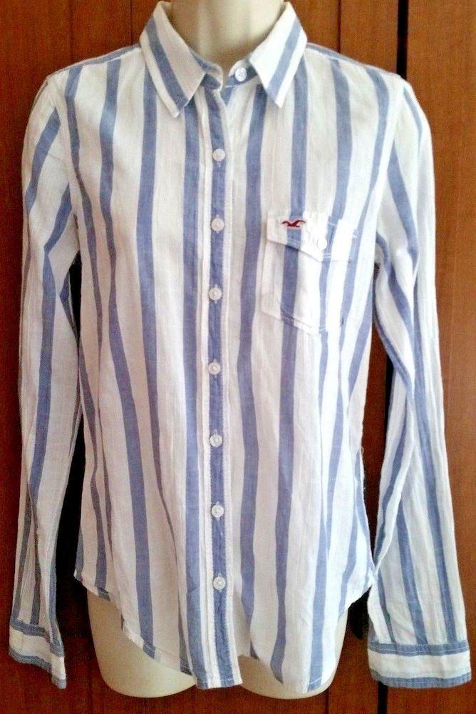 adee5ef0f HOLLISTER Women's Button Down Shirt Top Gray White Stripes Summer Weight  Size S #Hollister #ButtonDownShirt #Casual