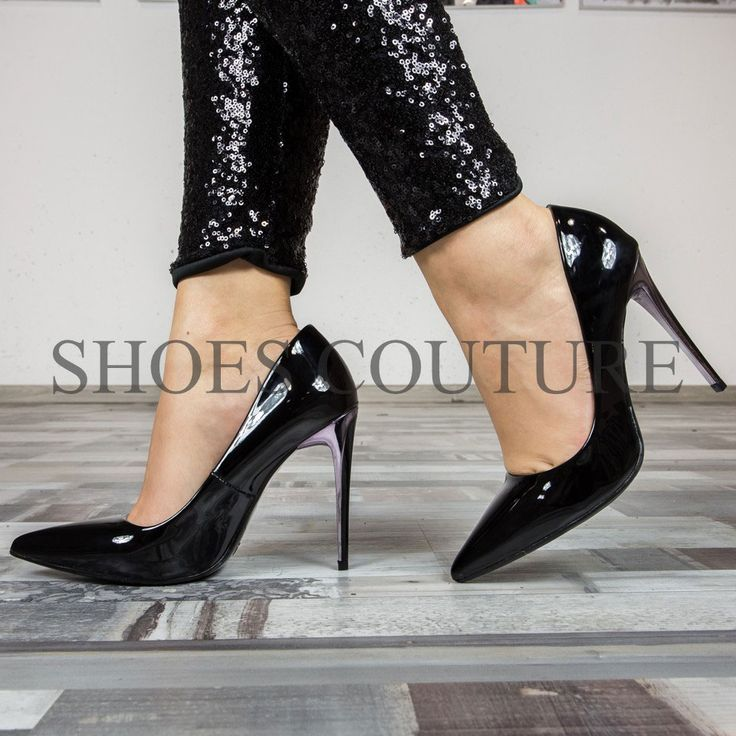 pantofi cu toc de lac