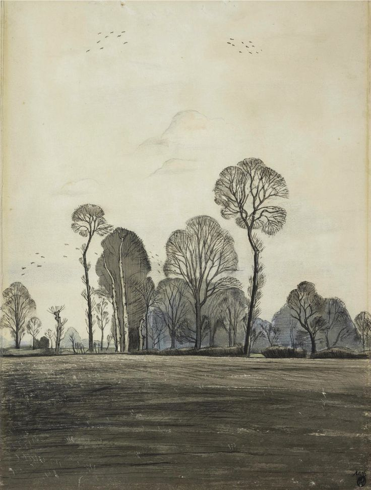 """thunderstruck9: """"Paul Nash (British, 1889-1946), Ploughed Fields at Iden. Pencil, wash, pen & ink and crayon, 46 x 34.4 cm. """""""