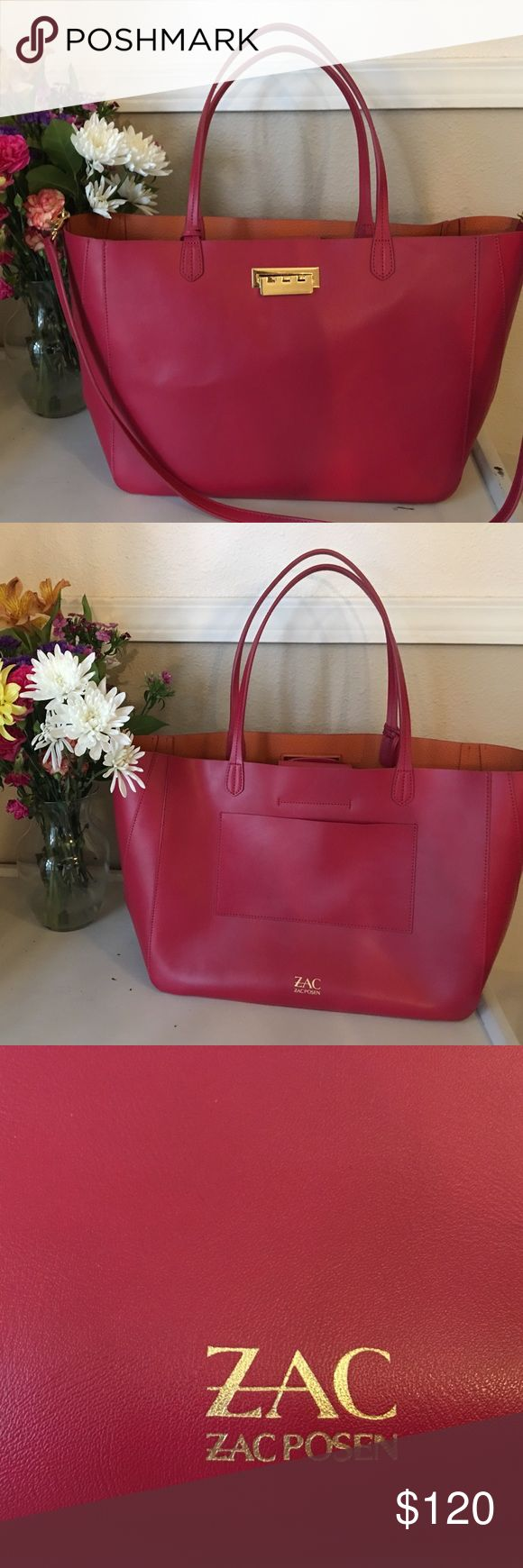Zac Posen leather purse Beautiful Zac Posen Large deep red colored leather purse. This purse is previously used but you can tell from pictures it is in excellent condition. Comes with shoulder strap. Zac Posen Bags Totes