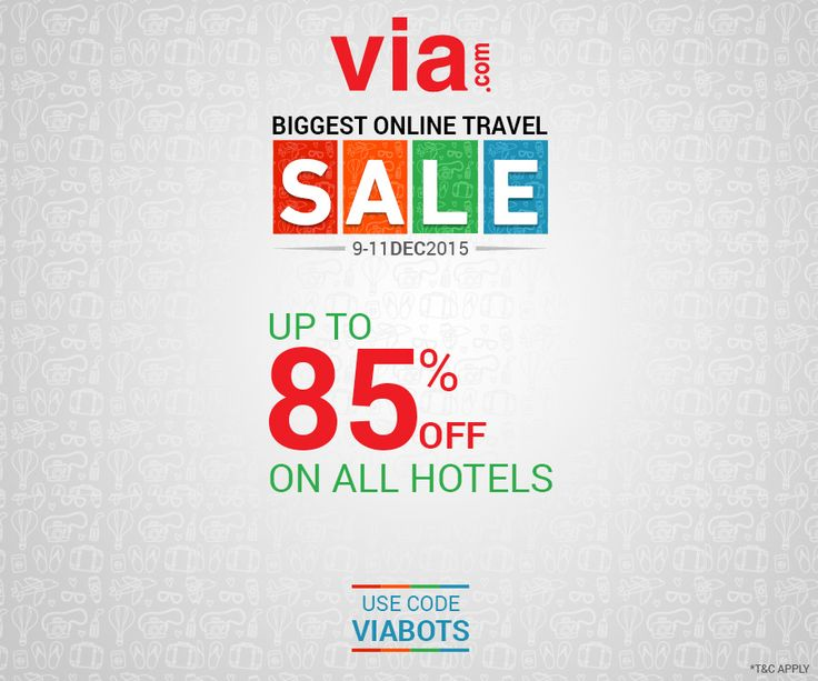 Save more on hotel booking! Up to 85% off* on all ‪#‎Hotels‬ ! Use code VIABOTS. 3 days left! Book via http://bit.ly/bots_hotels