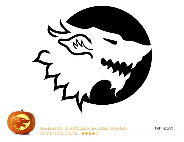 Game of Thrones House of Stark pumpkin carving template - Free Printable Coloring Pages