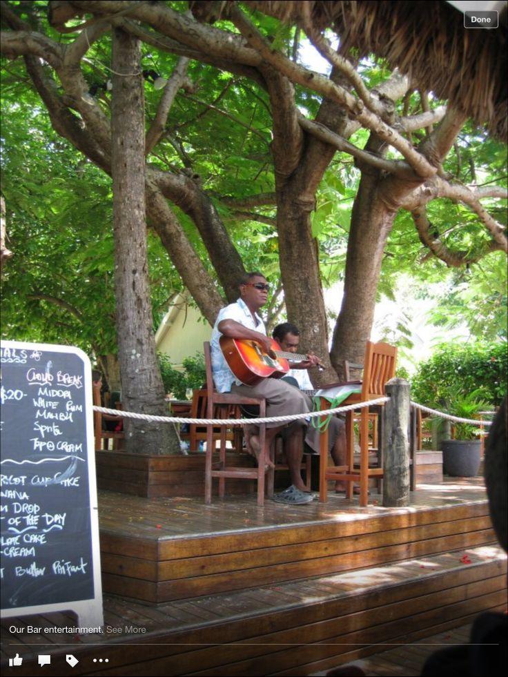 Malolo Island Resort, Fiji. 2011/2012 daily entertainment by the Beach Bar.