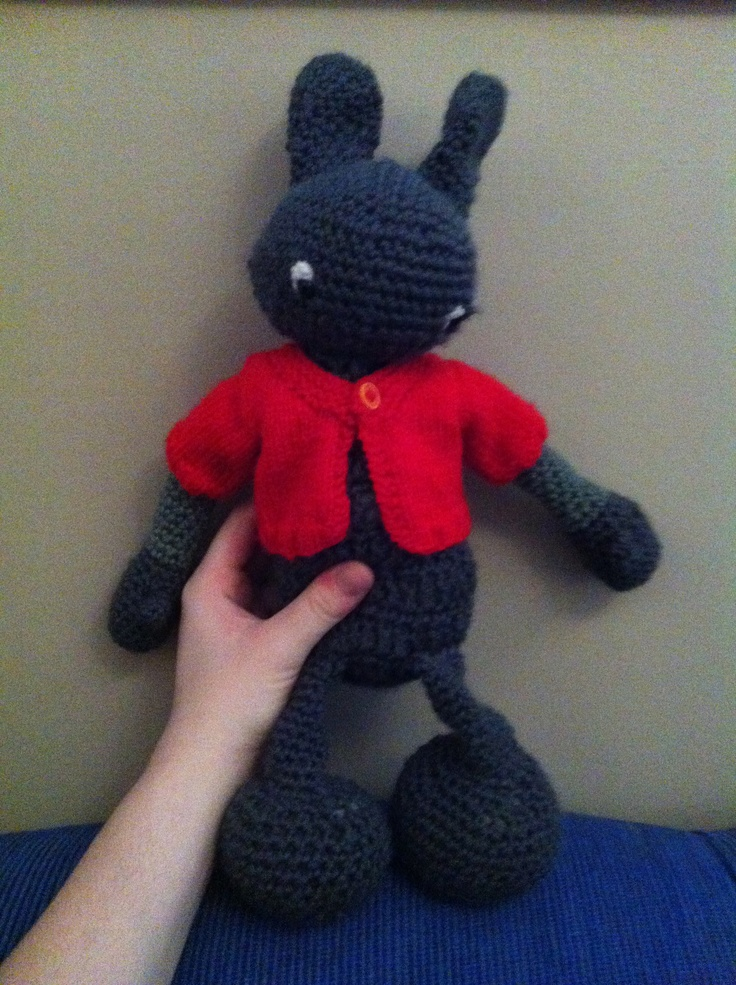 This rabbit is the very first thing i ever crocheted. His jacket is knitted.