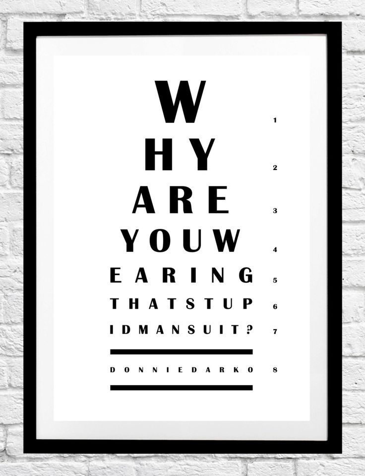 Donnie Darko 'Why Do You Wear That Stupid Man Suit?' Frank Quote - Eye Chart Minimalist Movie Poster Typography Print Home Decor Wall Art