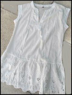 Camisa Blanca De Broderie - $ 490,00 en MercadoLibre