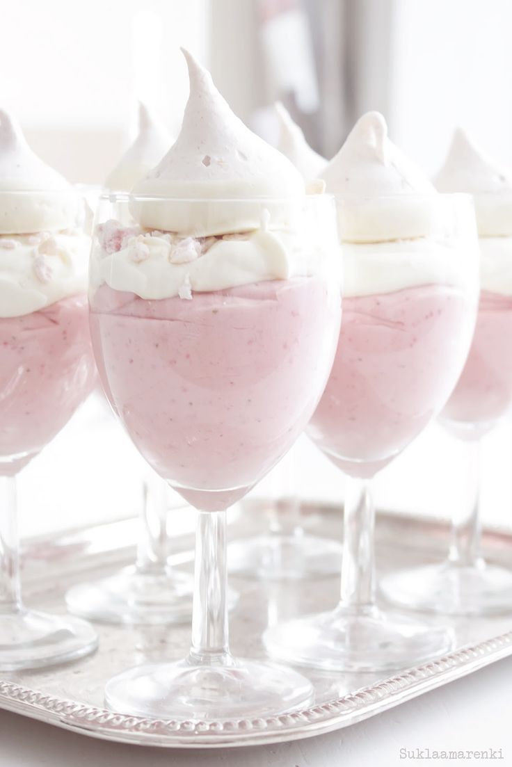I love the use of large wine goblets for this pretty pink cloud like dessert.