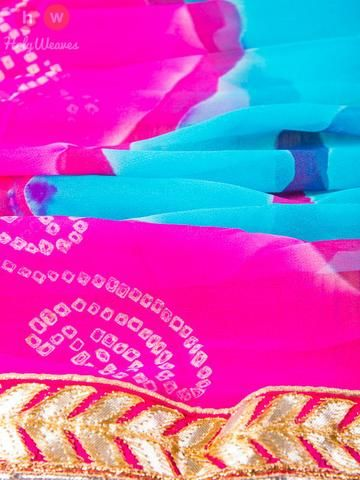 Multi-color Georgette Bandhani Dupatta - HolyWeaves - 2