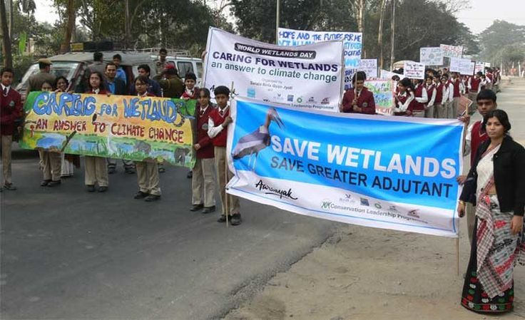 A street rally on World Wetlands Day in Guwahati aimed at increasing Greater Adjutant conservation awareness. Photo by Rathin Barman