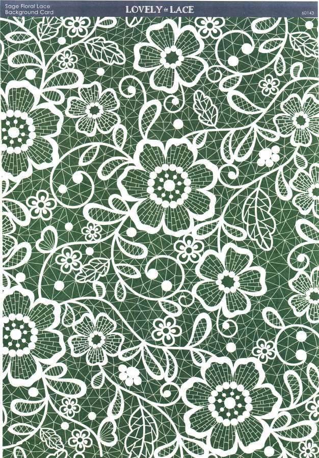 Kanban Crafts - Lovely in Lace - printed background card - Sage Floral Lace