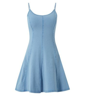 Blue Strappy Exposed Seam Skater Dress