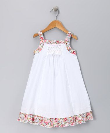 Take a look at this White & Pink Floral Candy Dress - Infant, Toddler &…