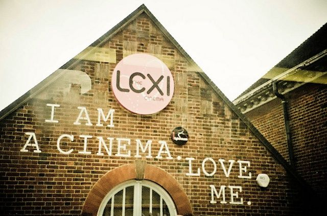 The Lexi Cinema - London. Cinema with small café attached Enormous colour-changing light bulb chandelier. all profits given to charity.
