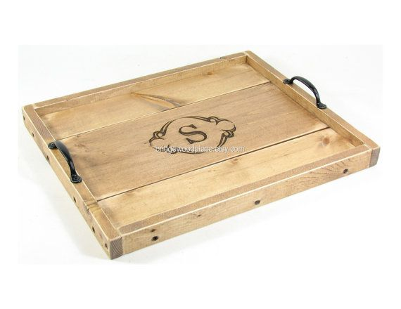 Personalized Ottoman Tray Custom Monogrammed Wooden Coffee